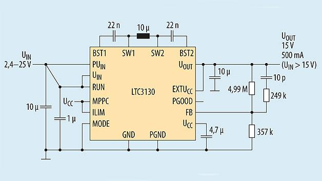 Bild 1. Beschaltung und Funktionsumfang des LTC3130 in einer typischen Applikation.