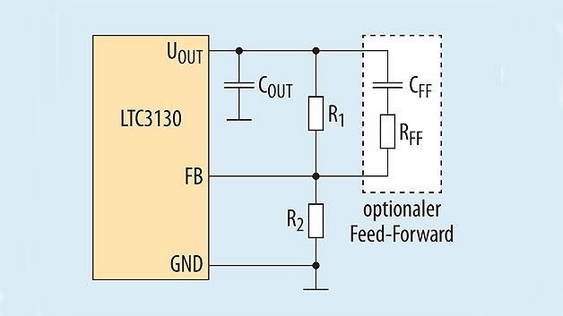 Bild 2. Die Ausgangsspannung des LTC3130 ist zwischen 1 V und 25 V einstellbar.
