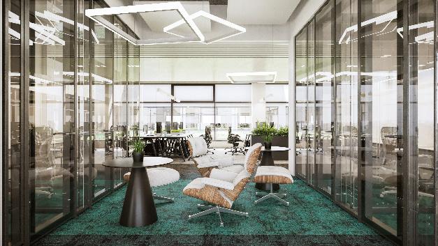 Positionierung als attraktiver Arbeitgeber: Moderne Bürogebäude in offenem und gläsernem Baustil werden durch ein 360 m² großes Sportcenter ergänzt.