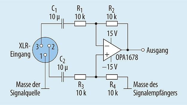 Bild 2. Gängige Schaltung für eine symmetrische Audio-Eingangsstufe aus einem Operationsverstärker mit diskreten Widerständen und Kondensatoren.