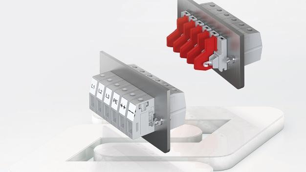 Die Durchführungsklemmen der Baureihe SDK, die Conta-Clip für Bemessungsquerschnitte von 4mm2 bis 16mm2 anbietet, sind jetzt UL-gelistet. Wegen des modularen Aufbaus und die Auslegung für Blechstärken von 1mm bis 6mm eignen sich SDK-Durchführungsklemmen für verschiedene Anwendungen in der Geräte- und Gehäusetechnik. Die Aneinanderreihung der Klemmen zu mehrpoligen Einheiten erfolgt mittels Gehäusezapfen. Durch die Kombinationsmöglichkeiten der abgestimmten Systemkomponenten lassen sich unterschiedliche Spannungsebenen bis zu 1000V (UL 600V) für Bemessungsströme bis zu 76A bereitstellen. Die zweiteiligen Durchführungsklemmen sind mit Schraubanschlusssystem oder mit einem Schraub/Löt-Anschlusssystem erhältlich. Alle Varianten verfügen über einen Bezeichnungskanal, der eine Bestückung mit Markierern der Typen PMC SB und PMC BSTR ermöglicht. Außerdem zählen Flanschplatten für die sichere Arretierung, Distanzplatten zur Klemmen-Anreihung und isolierende Adapterplatten zum Zubehör. Auf Anfrage sind die Durchführungsklemmen in kundenspezifischen Farben lieferbar.