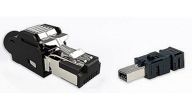 Fig. 5. The dual-row Mini I/O (right, 1.27 mm) is much smaller than the RJ45 (left, 1.016 mm).