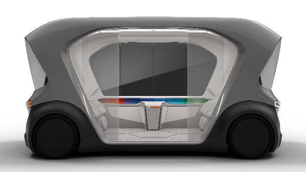 Seitenansicht des Shuttle-Konzeptfahrzeugs.