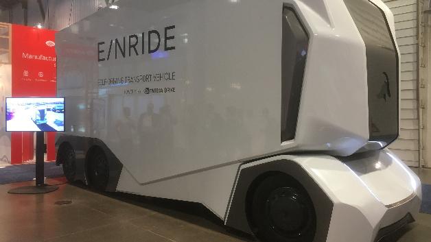 Auch das schwedische Start-up Einride war auf der CES vertreten – mit dem autonomen Transportfahrzeug T-Pod.