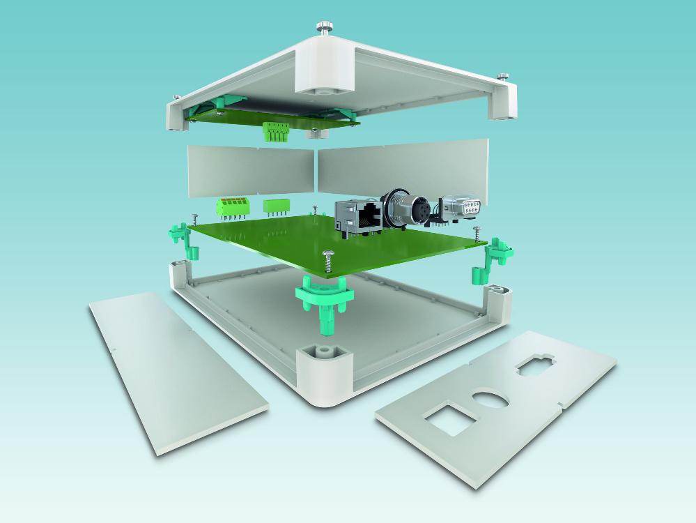 Modulares IP40-Gehäuse, einheitliche Seitenwände in den Bauhöhen 47 mm und 67 mm, identische Gehäuse-Halbschalen sowie feste oder flexible Leiterplattenaufnahmen.