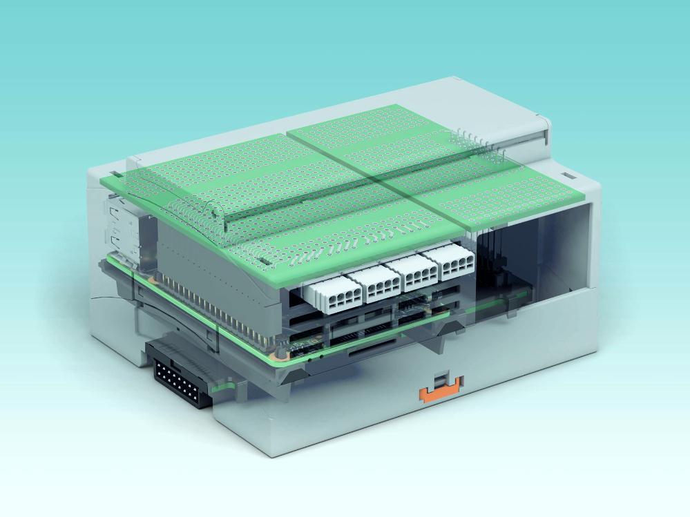 Offen für Kommunikation: In das RPI-BC-Gehäuse lassen sich Zusatzplatinen einsetzen, die mittels passenden Steckverbindern die GPIOs und den H-Bus kontaktieren. An die innere Platine werden Stecker für die Kommunikation ins Feld angeschlossen.