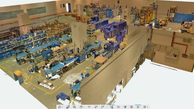 Digitaler Zwilling: Solche 3D-Modelle einer ganzen Produktionshalle können mittels »Click & Build«-Technik einfach erstellt werden.