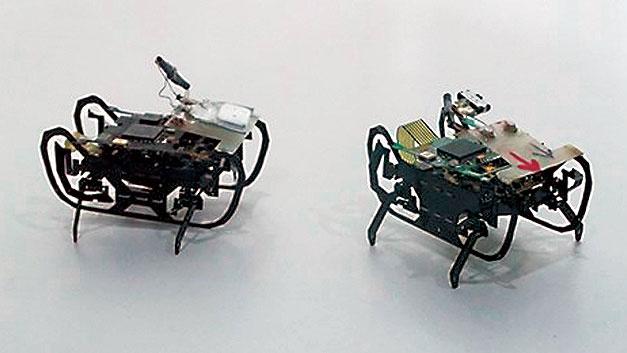 Bild 2. Die ersten Labormuster für künftige Swarm-Roboter. Sie sollen so klein werden, dass sie per Endoskop in einem Triebwerk ausgesetzt werden können und im Schwarm das Triebwerk inspizieren.