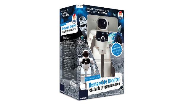 3.Preis: Der kleine Hacker - Humanoide Roboter einfach programmieren Ein eigener Roboter, der auf Kommandos nur so wartet? Hier gibt es einiges zu entdecken. Der fertige Roboter lässt sich über ein leicht verständliches Tastenfeld auf seinem Rücken programmieren, er tanzt, läuft, kickt und vieles mehr. Das beiliegende Erlebnisbuch entführt in die Welt der Robotik: Wissenswertes und Abenteuergeschichten ergänzen tolle Spielideen für den Roboter. Das garantiert das ultimative Robotik-Erlebnis! Erfahre alles über die Welt der Roboter! •Was ist künstliche Intelligenz? •Können wir Roboter eines Tages nicht mehr von Menschen unterscheiden? •Spannende Abenteuergeschichten: Die Welt der Roboter hautnah erleben •Tolle Spielideen für dich und deinen Roboter •Wissen und Spaß in einer tollen Mischung