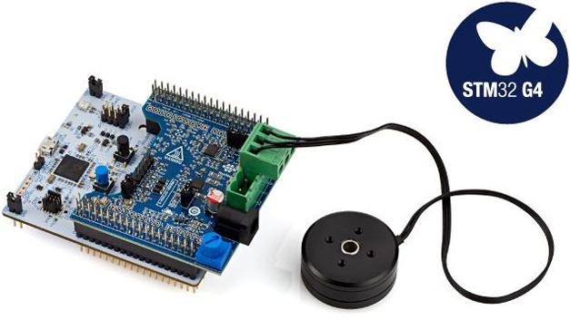 Das Entwicklungssystem für Motorsteuerungen P-NUCLEO-IHM03 STM32 ist ein Bausatz, der aus der Platine X-NUCLEO-IHM16M1, der Platine NUCLEO-G431RB, einem kollektorlosen Gleichstrommotor (GBM2804H-100T) und der Gleichstromversorgung besteht.
