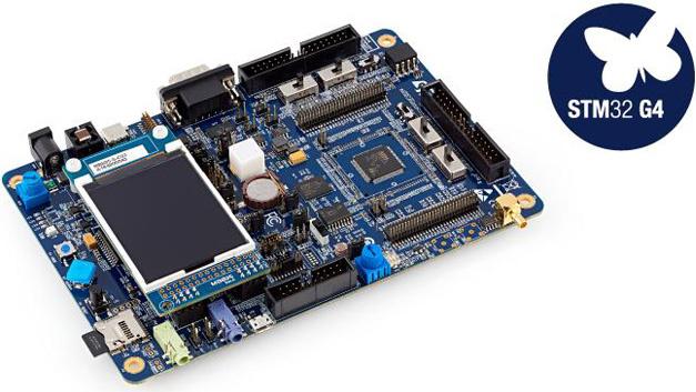 Das Entwicklungssystem STM32G474E-EVAL ist eine komplette Demonstrations- und Entwicklungsplattform für den Mikrocontroller STM32G474QET6U von STMicroelectronics – auf der Basis eines Cortex-M4 von ARM. In der Version STM32G474E-EVAL1 ist das Modul für Motorsteuerungen konfiguriert.