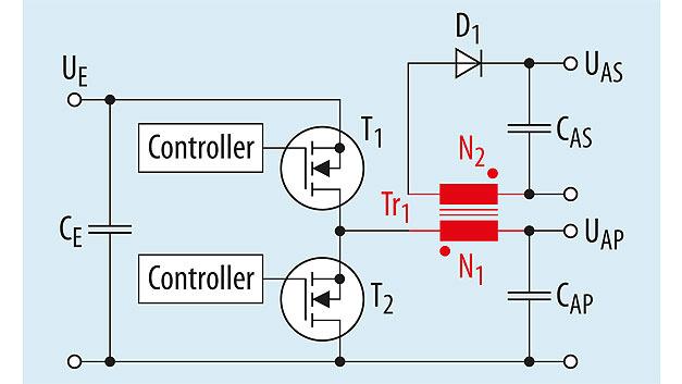 Bild 1. Vereinfachte Schaltung eines isolierenden Abwärtswandlers mit gekoppelter Induktivität.