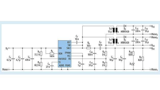 Bild 3. Schaltbild des Abwärtswandlers mit dem LM5160 für drei voneinander isolierte Ausgangsspannungen. Die gekoppelten Induktivitäten Tr1 und Tr2 sind von Würth Elektronik eiSos (WE-MCRI 7448990150), ebenso die Kondensatoren an den Ausgängen UA2 und UA3: C11 und C13 sind X7R-Keramikkondensatoren (WCAP-CSGP 885012206121), C12 und C14 sind Aluminium-Elkos (WCAP-ASLI 865080649011).