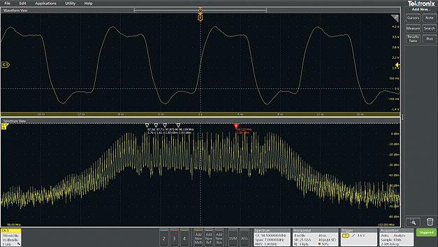 Bild 4. Dasselbe Taktsignal wie in den Bildern 2 und 3: Spectrum View ermöglicht eine unabhängige Parameterwahl für die Darstellung im Zeit- und im Frequenzbereich.