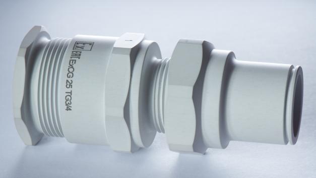 Kabelverschraubung aus Aluminium mit Metaker-Oberfläche (Prototyp) kann in Zukunft konventionelle Bauteile aus Edelstahl bzw. Messing vernickelt ersetzen.