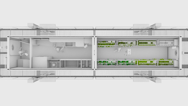In dem einen der beiden sechs Meter langen Container befinden sich die Pflanzen, in dem anderen Container ist ein Servicebereich für die Laborarbeit mit Versorgungssystemen und einem Arbeitsplatz eingerichtet.