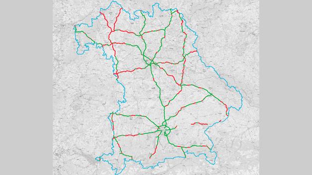 LTE (4G)-Versorgungswerte auf Bundesautobahnen in Bayern von Telefónica.