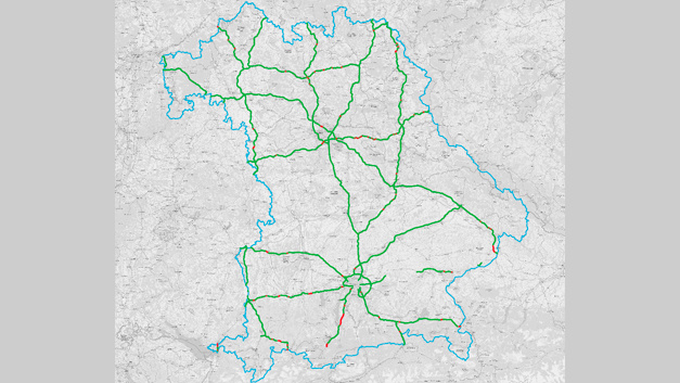 LTE (4G)-Versorgungswerte auf Bundesautobahnen in Bayern von Telekom.
