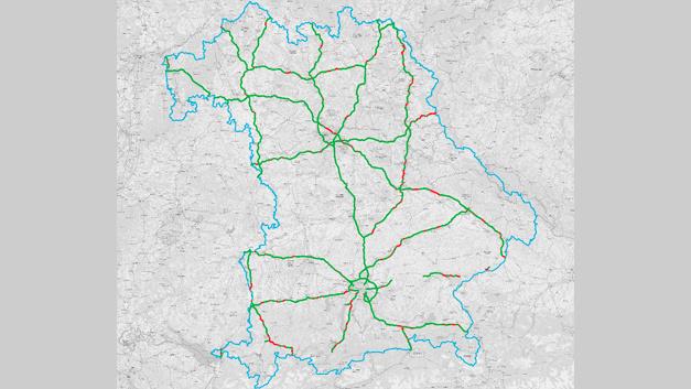 LTE (4G)-Versorgungswerte auf Bundesautobahnen in Bayern von Vodafone.