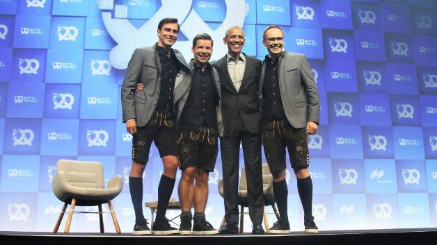 Nice to meet you: Andy Bruckschlögl, Felix Haas, Barack Obama und Bernd Storm van's Gravesande.