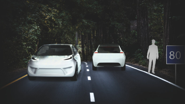 Vorteil von Pixel-Matrix-Scheinwerfern:Mit etablierter Frontscheinwerfer-Technik lässt sich diese Verkehrssituation im wesentlichen mit zwei Optionen begegnen...