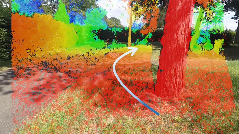 Das gleiche Bild mit der überlagerten Tiefeninformation aus der Stereobildauswertung, rot markiert sind Hindernisse in der Nähe. Der Pfeil deutet die darauf basierende Ausweichempfehlung an.