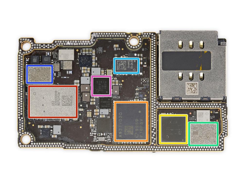 Die HF-Platine: Rot: Apple/USI 339S00648 WiFi/Bluetooth SoC Orange: Intel X927YD2Q Modem Gelb: Intel 5765 P10 A15 08B13 H1925 Transceiver Grün: Skyworks 78223-17 PAM Hellblau: 81013 - Qorvo Envelope Tracking Dunkelblau: Skyworks 13797-19 DRx Rosa: Intel 6840 P10 409 H1924 Basisband PMIC