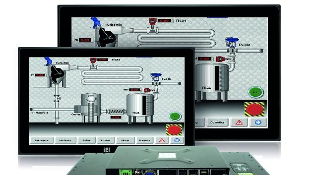 """Breitbild-Monitor mit IP65-Schutz Comp-Mall erweitert die Monitor-Reihe DM-F um die zwei Widescreen-Formate 15"""" und 19"""". Die Modelle DM-FW15A und DM-FW19A eignen sich in der Industrieautomation als Maschinenanzeige, als HMI, in Steuerwarten oder als Kiosk-Terminal. Das OSD-Keypad ist rückseitig angebracht, die IEI-Smart-OSD-Funktion ermöglicht Remote-Monitor-Einstellungen in der Windows-Umgebung. Das entspiegelte Display (anti-glare) verringert die Reflexionen und eliminiert Licht-Interferenzen. Wegen der IP65-geschützter Front und einem Betriebstemperaturbereich von –20°C bis +60°C eignet sich das Display auch für den Einsatz im Außenbereich. Die maximale Auflösung liegt bei 1366 × 768 Punkten (16:9), die Helligkeit bei 400cd/m2 und der Blickwinkel bei 170° horizontal und 160° vertikal. An Schnittstellen bieten die Monitore VGA, HDMI und DisplayPort, das 19-Zoll-Modell hat zusätzlich noch einen DVI-Anschluss. Je ein USB2.0 und ein RS-232 sind für den Touch-Screen-Anschluss herausgeführt. Die Spannungsversorgung liegt zwischen 9 und 36V DC. Die Monitore lassen sich mithilfe verschiedener Befestigungsmöglichkeiten in Schaltschränken, an Schalttafeln, in Maschinengehäuse oder mittels VESA 100 montieren.  Comp-Mall, www.comp-mall.de, info@comp-mall.de, Tel. 089 856315-0"""