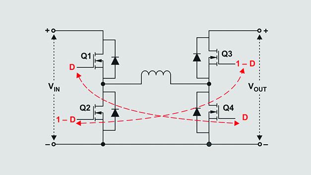 Bild 1. Aufwärts-Abwärts-Gleichspannungswandler mit vier Schaltern.