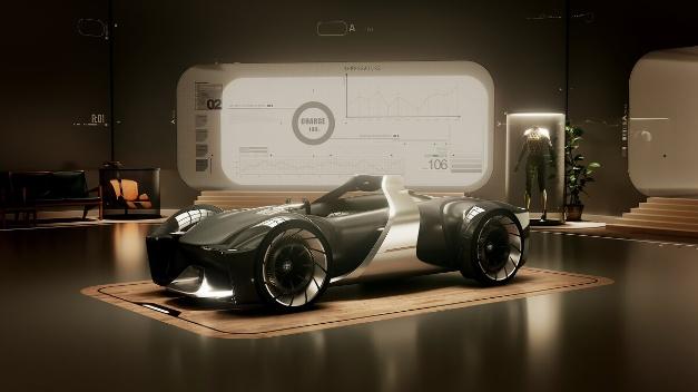 """丰田用""""e-Racer""""来满足驾驶乐趣。访客可借助特殊的数字眼镜在虚拟赛道上(包括水下路线)试驾这款低矮的前后双座车。但是,丰田并未透露与该理念有关的更多规格方面的信息。此外,在展会上还有一个虚拟座舱,可在其中进行人体测量并创建个人赛车服。"""