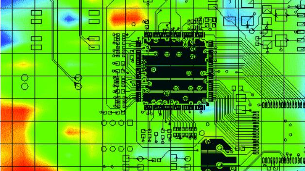 Bild 2. 2D-Messung der EM-Ausstrahlung. Die Farbcodierung gibt die Feldstärke an.