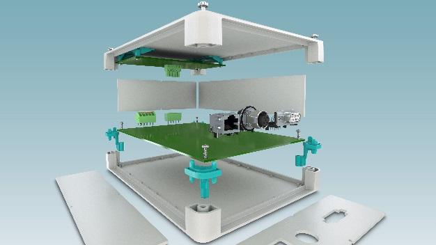 Gehäusesystem UCS: eine Gerätelösung wie aus dem Baukasten für modulare IP40-Gehäuse - mit einheitlichen Seitenwänden in den Bauhöhen 47 mm und 67 mm, identischen Gehäusehalbschalen und festen oder flexiblen Leiterplattenaufnahmen.