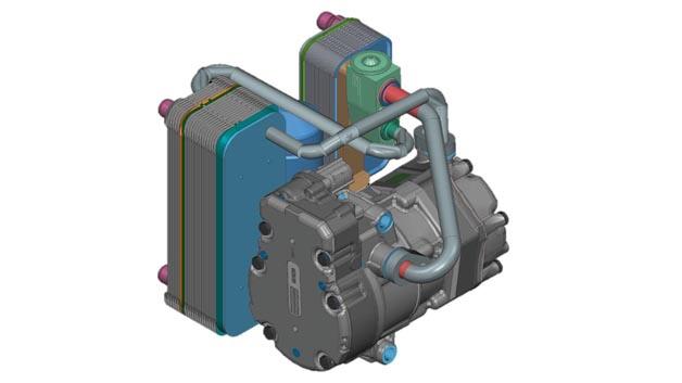E-Autos stellen hohe Anforderungen an ein ganzjährig effizientes Thermomanagement. Es soll, vor allem im Winterbetrieb, die Antriebsbatterie so wenig wie möglich belasten. Mahle hat daher ein Wärmepumpen-basiertes System (Integrated Thermal System, IST) entwickelt, mit dem sich die Reichweite im Winter um bis zu  20 Prozent erhöhen lässt. Das ITS kombiniert dazu verschiedene thermische Komponenten in einem System, das mehrere Betriebsfunktionen erlaubt. Im Mittelpunkt seiner Architektur steht ein semihermetischer Kältekreislauf, der aus einem Chiller, einem kühlmittelgekühlten Kondensator (i-Condenser) sowie einem thermischen Expansionsventil und einem elektrischen Antriebskompressor besteht. Der i-Condenser und der Chiller haben die gleiche Funktion wie der Kondensator und der Verdampfer in einem herkömmlichen Kältekreislauf. In diesem Fall jedoch überträgt das Kältemittel die Wärme anstelle von Luft an das Kühlmittel und erzeugt so warme oder kalte Kühlmittelströme. Das ITS verwendet R1234yf als Kältemittel und die herkömmliche Fahrzeugkühlflüssigkeit als Medium für den Wärmetransport zwischen Kühlkreislauf und den verschiedenen Wärmequellen und -senken im Fahrzeug.
