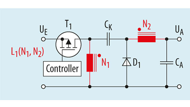Bild 1. Vereinfachte Schaltung eines ZETA-Wandlers mit gekoppelter Induktivität.