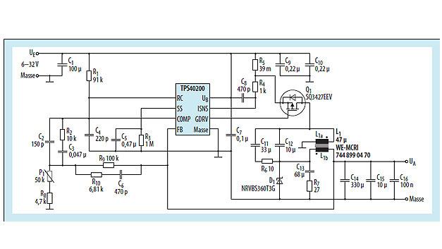 Bild 3. DC/DC-Wandler auf der Basis des TPS40200 in ZETA-Schaltung mit einer gekoppelten Induktivität L1.
