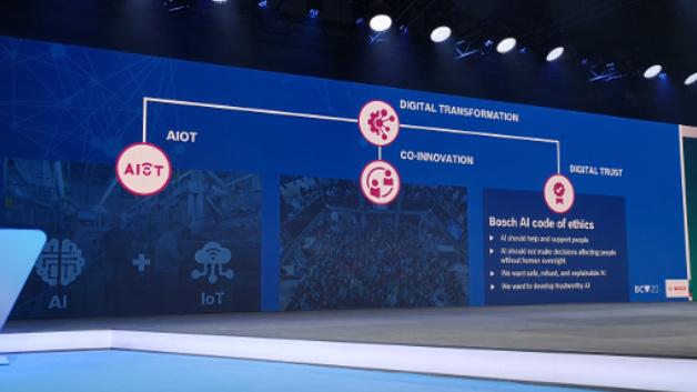 Die wesentlichen Elemente der Digitalen Transformation sind laut Bosch AIoT (KI + IoT), Co-Innovation (mit Partnern) und Digitales Vertrauen (Trust).
