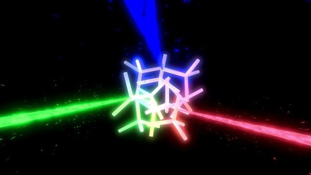 Durch seine innere Struktur kann das Material verschiedene Wellenlängen streuen, also grünes, rotes und blaues Laserlicht.