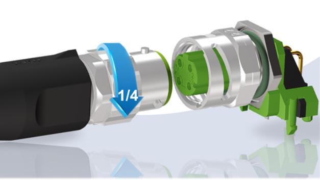 Industrie-Steckverbinder mit Bajonett-Verschluss und Schnellverriegelung:  Conec stellt Steckverbinder mit Bajonett-Schnellverriegelung vor, die sich selbst in schwer erreichbaren und/oder nicht einsehbaren Bereichen verwenden lassen. Mit dem Drei-Punkt-Bajonett-Verschluss ist es möglich, die Verbindung mit einer 90-Grad-Drehung per Hand zu verriegeln. Die Stecker sind an den Normentwurf IEC CD 61076-2-011/Ed1 ausgelegt. Im verriegelten Zustand erreichen die Stecker die Schutzgrade IP65, IP67 und IP69K. Die Kupplungsflansch–Varianten mit direktem Leiterplattenanschluss sind zudem mit einem Innengewinde im Steckbereich ausgestattet und gewährleisten dadurch die Rückwärtskompatibilität mit Standard-M12-Steckverbindern. Somit kann man neue Systeme ohne Bedenken geräteseitig mit dem »M12 Bajonett« ausstatten.