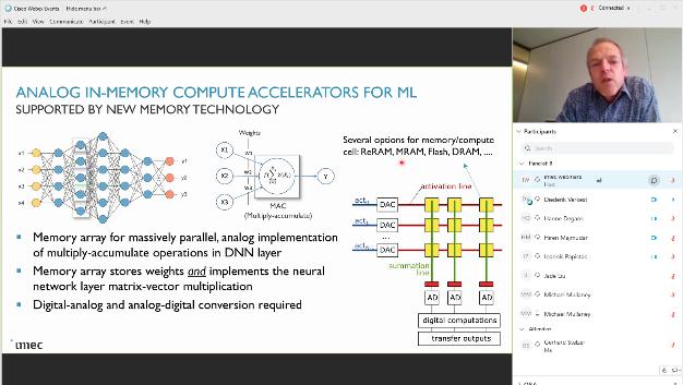 Diederik Verkest, Programmdirektor für maschinelles Lernen bei imec (rechts oben): »Das erfolgreiche Tape-Out von AnIA markiert einen wichtigen Schritt in Richtung Validierung von Analog in Memory Computing (AiMC)«.