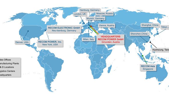 RECOM-Produkte können bei vielen führenden Distributoren bezogen werden – Muster sind innerhalb von 48h rund um den Globus verfügbar. Mit einem kompetenten Tech-Support Team in Österreich und in den Niederlassungen Deutschland, USA, Singapur, China und Japan sowie Werksvertretungen in 55 weiteren Ländern sorgt man insbesondere in der Designphase für optimale Nähe zum Kunden.