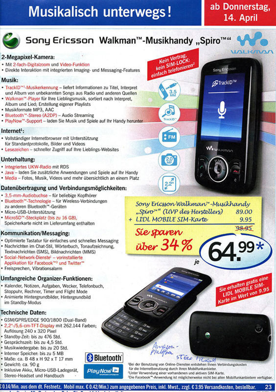 walkman smartphone beim discounter sony ericsson spiro. Black Bedroom Furniture Sets. Home Design Ideas