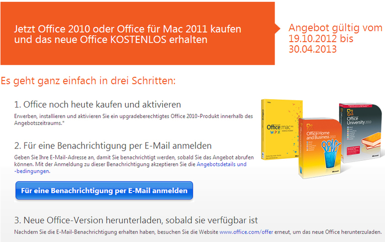 Kostenloses Update Bei Kauf Von Office 2010 Office 2013 Angebot Von