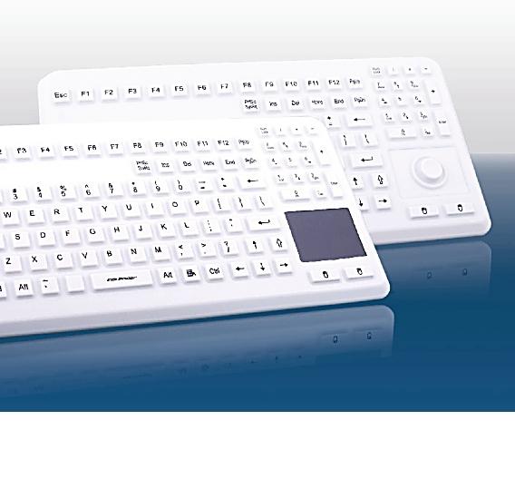Die Silikontastatur InduProof Advanced kann mit Eigenschaften wie Wasser- und Staubdichtheit sowie hohe chemische Resistenz aufwarten.