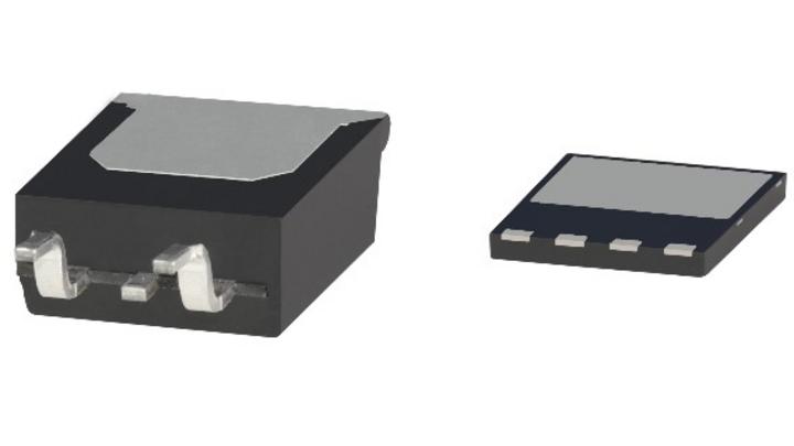 Das neue ThinPAK-8x8-Gehäuse (rechts) im Vergleich zum D2PAK-Gehäuse (links).