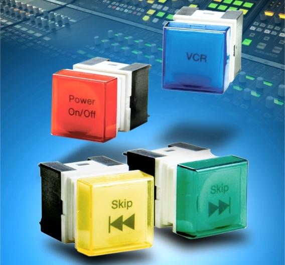 Drucktaster, die als Hinterleuchtung mit LEDs bestückt werden können.