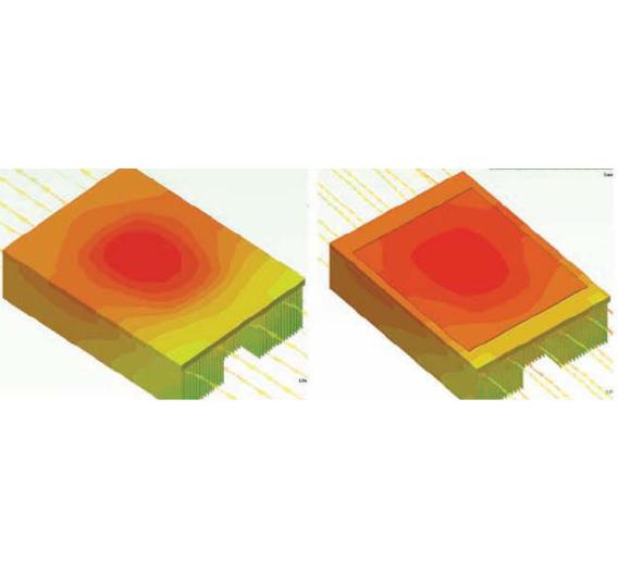 Bild 3: Wie eine Simulation zeigt, verteilt sich durch Integrieren einer Dampfkammer bei identischem Kühlkörperlayout die Temperatur viel homogener (rechts) als bei einem reinen Kupferkühlkörper (links), zudem sinkt die Temperatur um 3 K bis 4 K