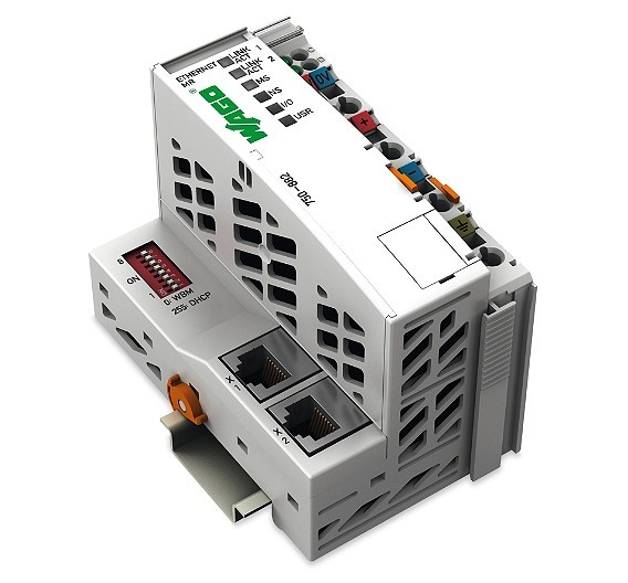 Der Ethernet-MR-Controller 750-882 von Wago spricht zwei getrennte Netzwerke oder ein redundantes Netzwerk an.
