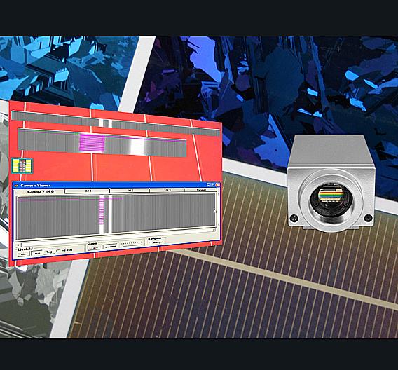 Die »VC4002L«-Zeilenkamera überacht in der Solarzellenproduktion das Aufbringen der Leiterbahn durch Laser.