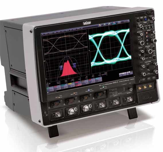 Die neuen 4-Kanal-Scopes der Serie WaveMaster 8Zi-A schaffen 45 GHz an Bandbreite (in einem Kanal) und 120 GS/s Abtastrate.