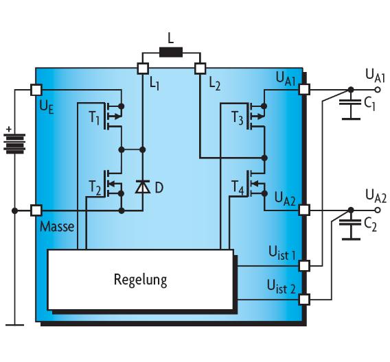 Bild 3. Der STw4141 hat zusätzlich zur üblichen Abwärts-Wandlerschaltung noch zwei weitere Leistungstransistoren T3 und T4. Mit ihnen kann die Steuerschaltung festlegen, welcher Ausgang mit der gemeinsamen Drosselspule verbunden wird.